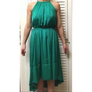 Banana Republic Emerald green hi low halter dress